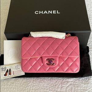 Chanel 21S Pink Mini Rectangle Classic Rainbow NEW